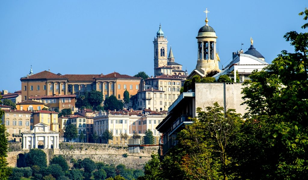 City buildings with Santa Maria Maggiore church