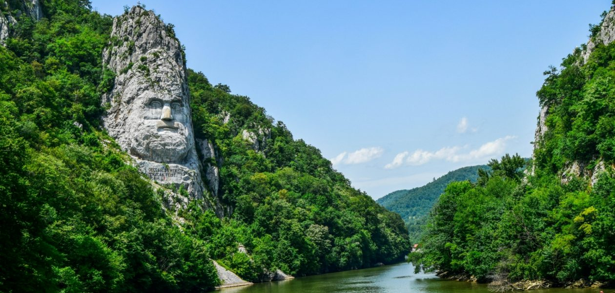 Decebal face carved statue in Romania