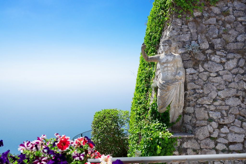 View from mount Solaro on Thyrrenian sea, details of Capri island, Italy