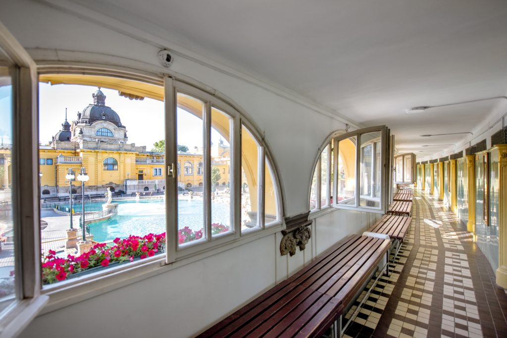 Inside Szechenyi Bath in Budapest