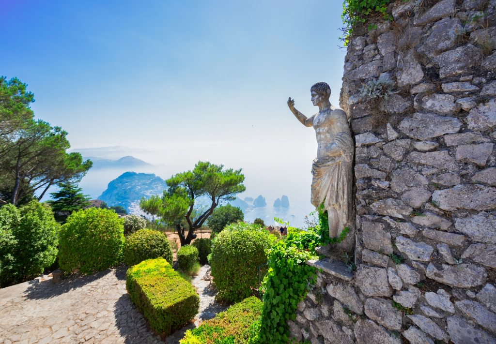 Beautiful summer luxury nature and architecture of famous Capri island, Italy