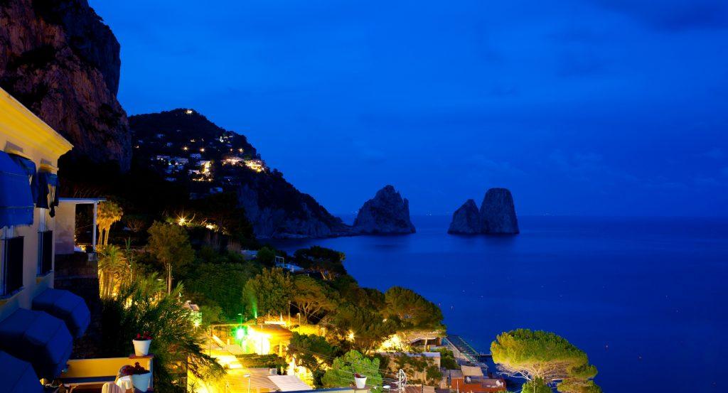 Marina Piccola at night Capri island