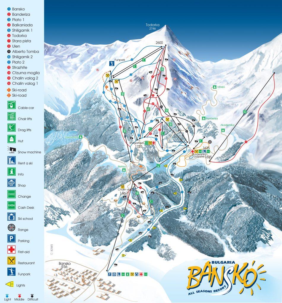Best ski resorts in Bulgaria Bansko Ski Map