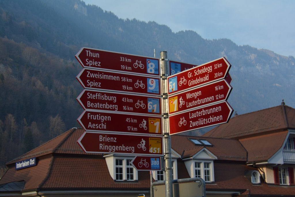 Road sign Interlaken