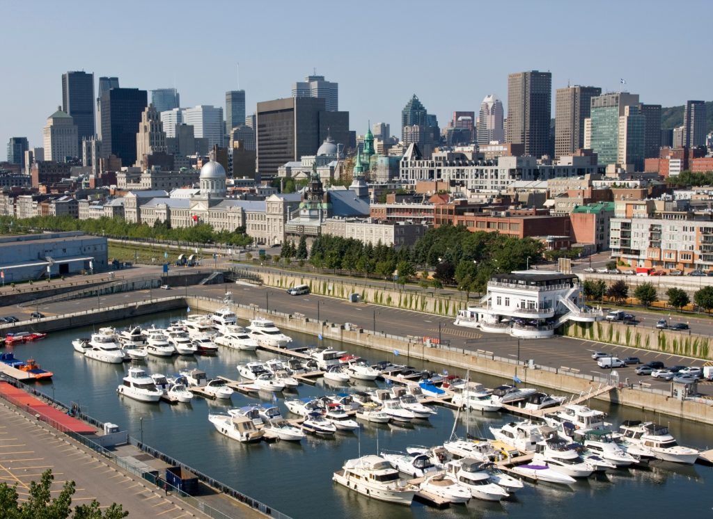 Montreal skyline and harbour, aerial view