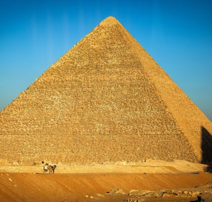 Pyramid of Cairo at sunset in Egypt