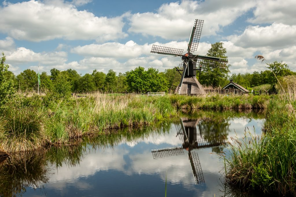 Dutch windmill in the water village Netherlands