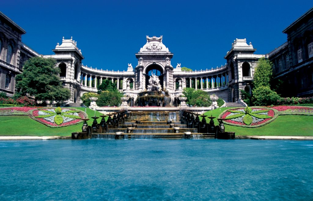 Fountains in front of Longchamps Palace in Marseille, France non beach vacations