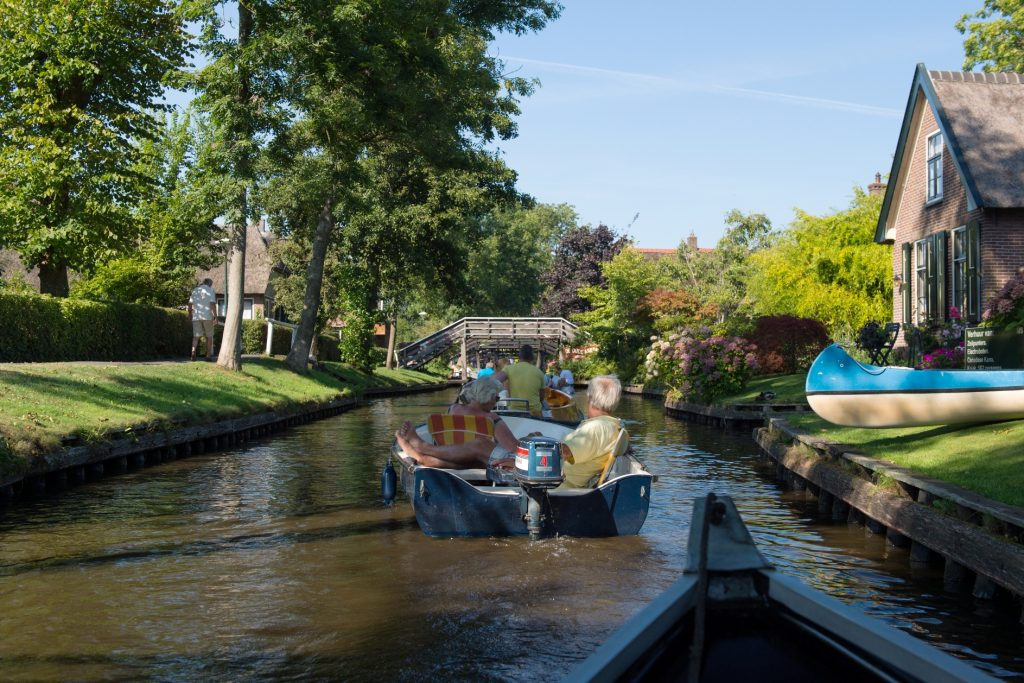Boats in Giethoorn the Netherlands Water Village